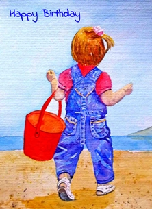 EmilyJane Girl with Bucket Birthday girl, beach, sand, bucket, beach, seaside, for her personalised online greeting card