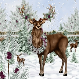Christmas  greeting cards by Little Bird Greetings Cards  family friends Winter Deer