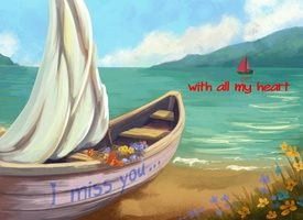 Valentine Valentines Boat Love I Miss You personalised online greeting card