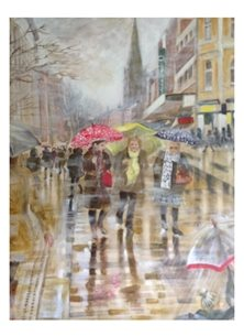 Wildart Another rainy day art Preston street scene personalised online greeting card
