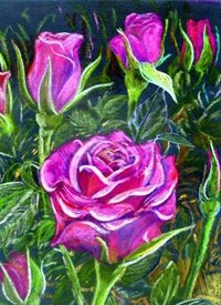 General pink roses flower gardening green pastel personalised online greeting card