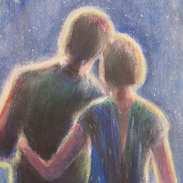 art general stars, couple, in love, night sky,  personalised online greeting card