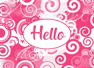 General Pink white, for-her, abstract, blank, hello, any occasion personalised online greeting card