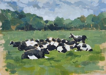 Artist general Cows basking painting chewing cud  art card artist birthday anniversary cow personalised online greeting card