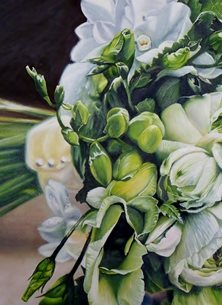 art bride, bouquet of flowers, creams, yellows, greens, marriage, wedding day, wedding, congratulations, bride and groom, floral, flowers personalised online greeting card