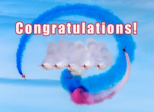 Congratulations ^red arrows^, RAF, jets, aircraft, aviation, aeroplane, airplane, plane personalised online greeting card
