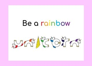 General rainbow unicorn font  personalised online greeting card