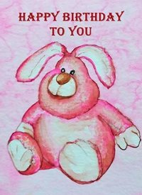 EmilyJane Pink Rabbit Birthday Children artwork rabbit animals funny for-children personalised online greeting card