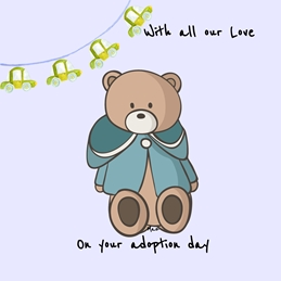 Her Nibs  Teddy Bear children baby Adoption Teddy Bear Bunting Cars Brown Blue Green Black For -Him child Wholesale personalised online greeting card