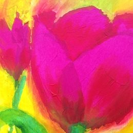art Tulips yellow pink birthday personalised online greeting card