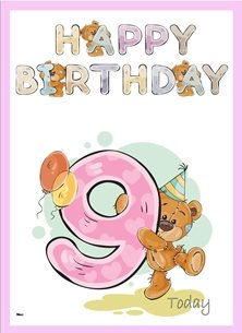 birthday children  Teddy Bear Number 9 Hat Balloons Purple Pink Blue Brown Happy  personalised online greeting card
