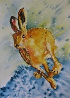 art Running Hare, Wild Life, Countryside, rabbit, abstract,  animals personalised online greeting card