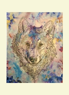 art Wolf Animals personalised online greeting card