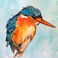 art artwork kingfisher birds wildlife for-him for-her personalised online greeting card