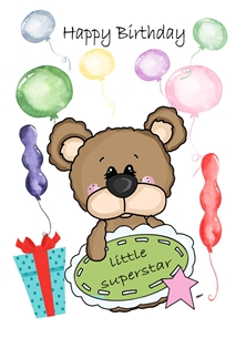 Birthday children For Children Teddy Bear Star Banner Balloons Gift Red White Blue Yellow Brown Green  personalised online greeting card