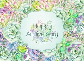 Anniversary Succulents, Flowers,  z%a personalised online greeting card