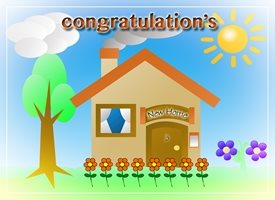 Congratulatios new, home, couple, couple first house,  personalised online greeting card