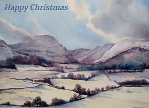 Christmas Snow Lake District Cumbria landscape watercolour Winter personalised online greeting card