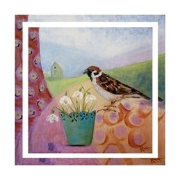 art flowers, bird, snowdrops, sparrow, painting, personalised online greeting card