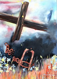 Art cross peace broken chains love God Jesus Christian peace beauy cost restore oil paint  z%a personalised online greeting card