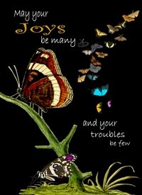 General Butterflies Quote Multi Coloured Happy  personalised online greeting card
