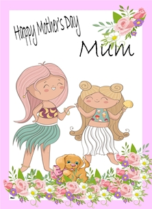 Mothers For Her Mother's Day Hawaiian Girl Puppy Lilac brown Green White  personalised online greeting card