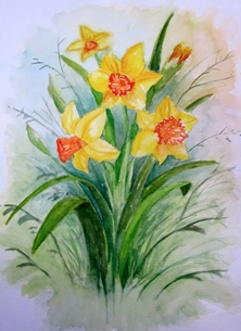 Art By Three  Daffodils Art daffodils flowers spring for-her for-mum yellow watrecolours mothersday personalised online greeting card