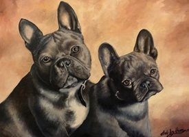 Art By Three  French Bull Dogs General Art dogs pets animals french bulldogs for-him for-her for-child cute grey nature two friends oils  general blank all occasions art him her  personalised online greeting card