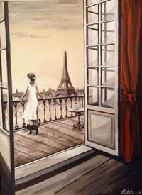 Art By Three  Paws for Thought fineart Paris  Eiffel Tower France oils art blank general all occasions for-him for-her  romance love girlfriends anniversary black Cats Paris landscapes woman  romance balcony curtains red doors rooms  landscapes city views  fineart personalised online greeting card