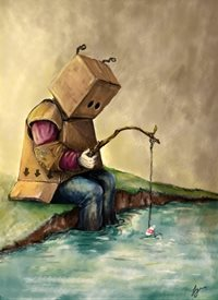 Lynn Adams Illustration Sad Robot General child sad fishing  personalised online greeting card