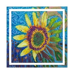art fower, sunflower, floral, painting, personalised online greeting card