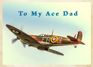 Fathers birthday for-him, father, dad, father's-day, aeroplane, airplane, plane, Spitfire, RAF personalised online greeting card