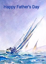 Fathers artwork boat sea sky blue water for-him personalised online greeting card