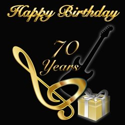 Birthday 70, man, guitar, music, black, stratocaster,  personalised online greeting card