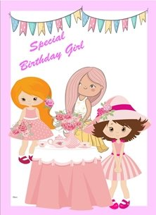Birthday Children Girls Tea Party Bunting Flowers Table Tea Pot Cups Pink White Blue Orange Yellow Happy  personalised online greeting card