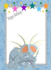 Birthday Dinosaur Stars Grey Blue Yellow Green Purple White Happy  personalised online greeting card
