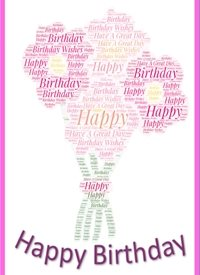 Birthday flower, pink, female, feminine,  personalised online greeting card