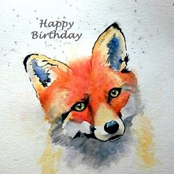 Birthday artwork fox foxes animals wildlife for-him for-her personalised online greeting card
