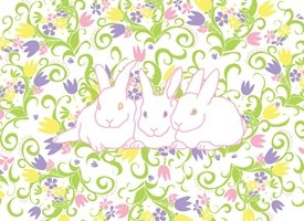 Easter Rabbits, Bunnies, Spring, Flowers, Tulips, Violets, Jelly Beans, grass, nature, decorative personalised online greeting card