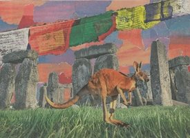 general Collage, stonehenge, landscape, Kangeroo, tibetan flags, colourful, Everyday Art, General, abstract, congratulations, Thank you, birthday, friend,  personalised online greeting card