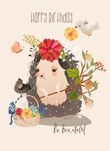 Birthday For Children, Hedgehog, Cute, For-him, For-Her personalised online greeting card