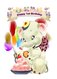 birthday children  Elephant Cake Balloons Happy  1 z%a personalised online greeting card