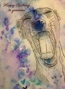 art italian greyhound dog animal happy birthday art watercolour ink  personalised online greeting card