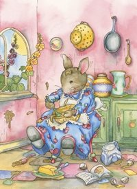 Children Art, Illustrative, Traditional, Nostalgic, Children, Rabbits, Pink, Girls, Blank, Baking, Cooking, Kitchen, Animals personalised online greeting card