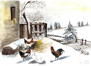 Christmas General Chickens in snowy farmyard personalised online greeting card