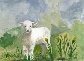 Art Easter Spring lamb in field with daffodils  personalised online greeting card