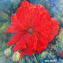 art Red, oriental, poppy, flower, floral. personalised online greeting card