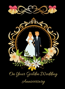 anniversary For Him For Her Golden Wedding 50 Years Bride Groom Flowers Bells Bows Happy  personalised online greeting card