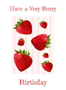 Kay Ashton Fine Art 'Have A Berry Birthday' digital art strawberries Birthday strawberry, strawberries, red, pink, white, stripes, berries, berry personalised online greeting card