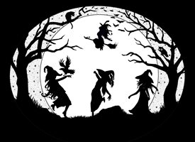 Halloween spooky, witches, cats, owls, dancing, day of the dead, brew, silhouettes, spells, wicken, harvest, fall, stars, trees  personalised online greeting card